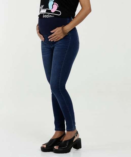 Image_Calça Feminina Jeans Gestante Skinny Bolsos Razon