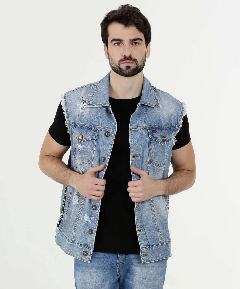 Colete Masculino Jeans Destroyed Rock & Soda