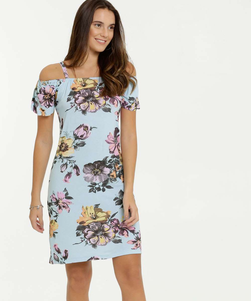 Vestido Feminino Open Shoulder Estampa Floral