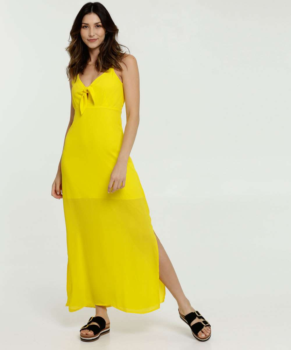 Vestido Feminino Longo Chiffon Alças Finas Marisa