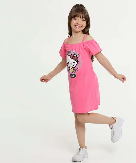 Image_Vestido Infantil Open Shoulder Hello Kitty Sanrio