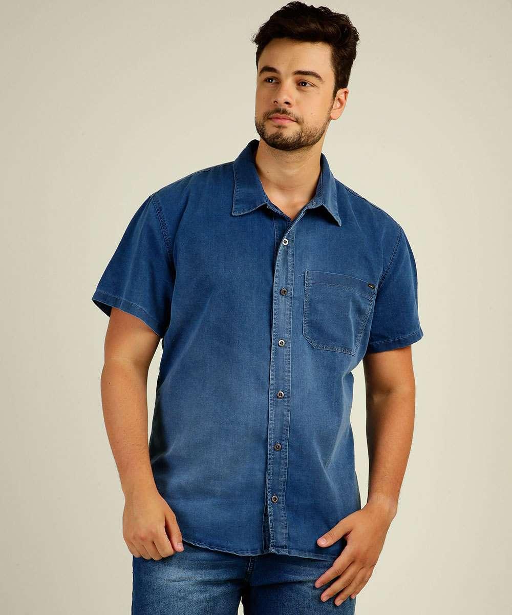 Camisa Masculina Jeans Manga Curta Plus Size Razon