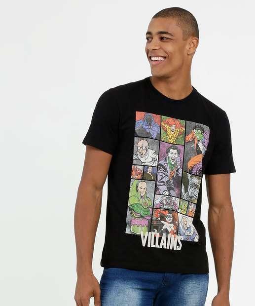 Image_Camiseta Masculina Estampa Vilões Manga Curta Liga da Justiça