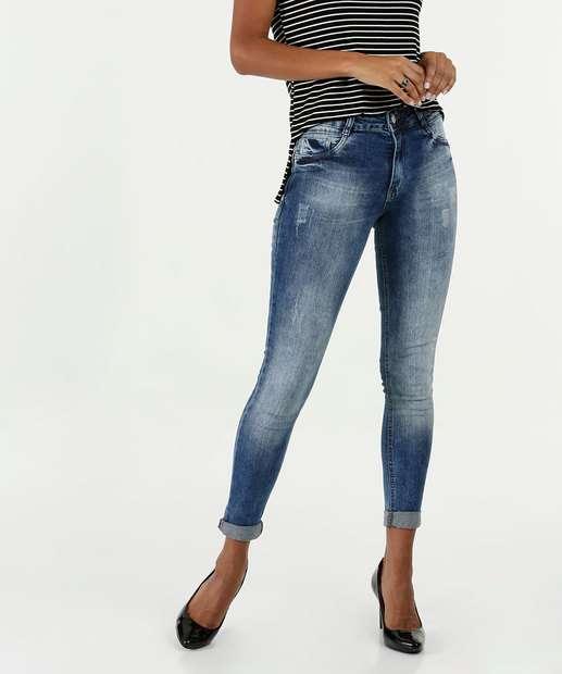 0011c3d05 Calça Feminina Jeans Skinny Stretch Puídos Biotipo
