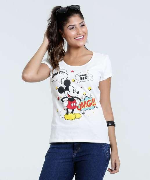 Image_Blusa Feminina Mickey Frase Manga Curta Disney