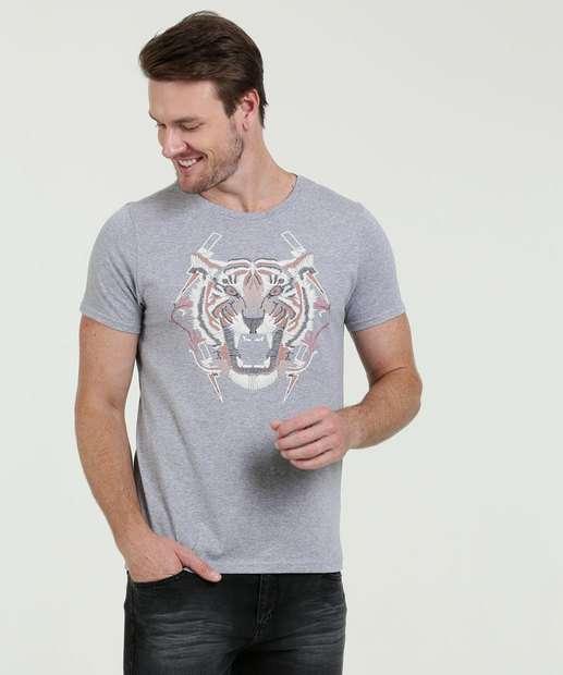 Image_Camiseta Masculina Estampa Tigre Manga Curta