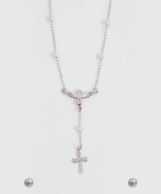 Image_Kit Feminino Colar Brincos Crucifixo Marisa