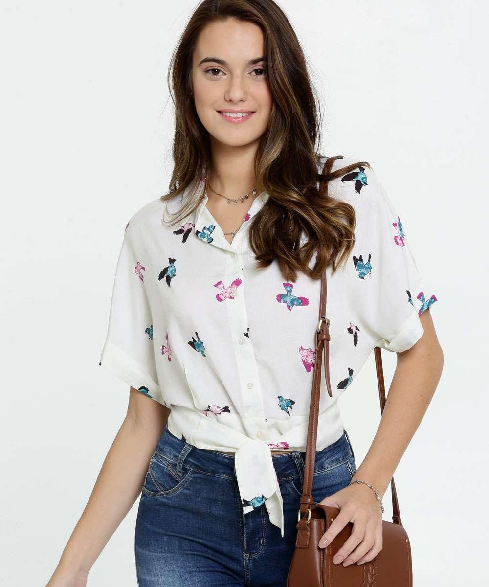 Camisa Feminina Cropped Estampa Pássaros Marisa