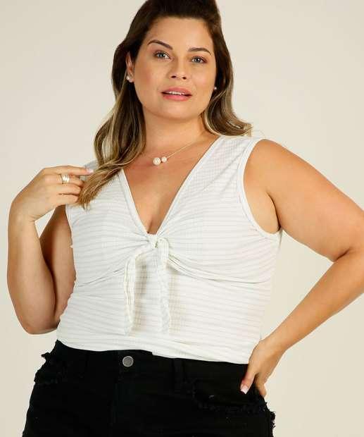 Image_Blusa Plus Size Feminina Listrada Amarração