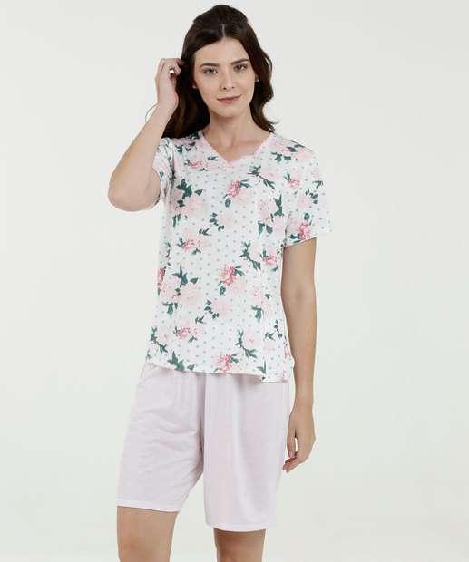 987320c15 Pijama Feminino Estampa Floral Manga Curta Marisa
