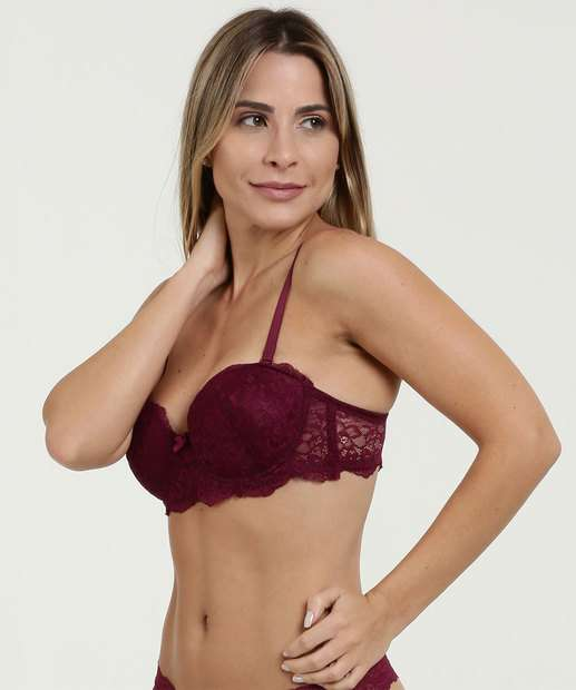 474d21aeb Sutiã Feminino Com Base Multifuncional Renda Marisa