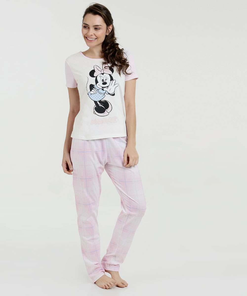 9ff1a0b38 Menor preço em Pijama Feminino Estampa Minnie Xadrez Disney