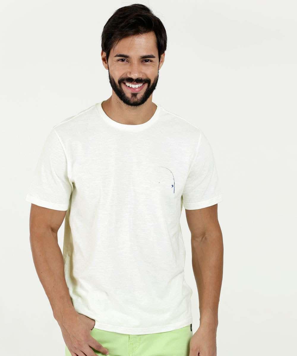 Camiseta Masculina Estampa Peixes Manga Curta Marisa
