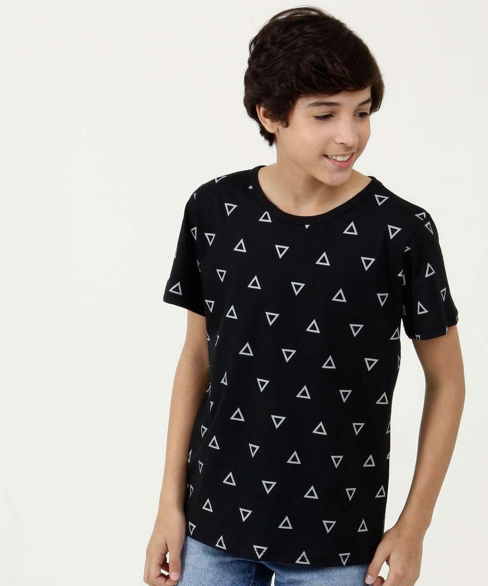 Camiseta Juvenil Estampa Geométrica Manga Curta