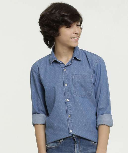 Image_Camisa Juvenil Jeans Estampada Manga Longa MR