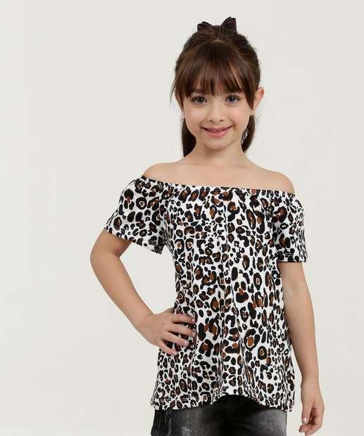 21f2708274 Blusa Infantil Ombro a Ombro Estampa Animal Print