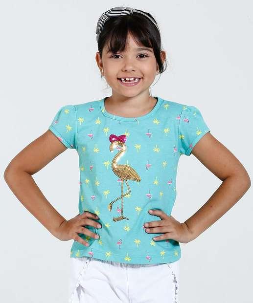 Image_Blusa Infantil Manga Curta Estampa Flamingo Paetês Marisa