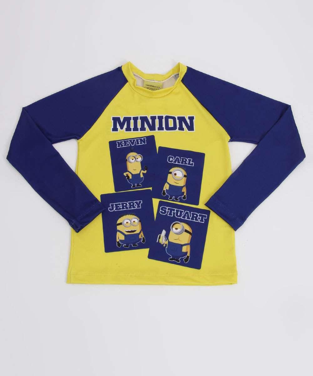 Camiseta Infantil Praia Minions Proteção UV Universal Tam 4 a 10