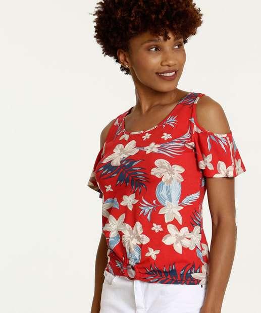 Image_Blusa Feminina Open Shoulder Estampa Floral Manga Curta