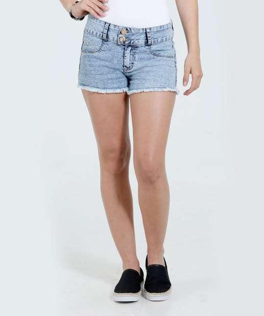 Image_Short Feminina Jeans Marmorizado Tachas Marisa