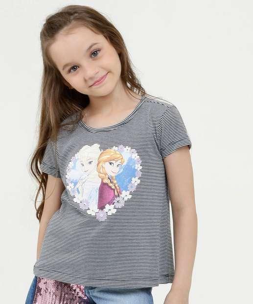 Image_Blusa Infantil Listrada Estampa Frozen Manga Curta Disney