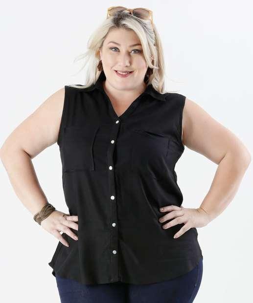 Image_Camisa Feminina Plus Size Fenda Bolso Marisa