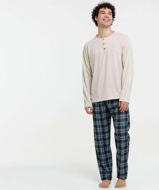 Image_Pijama Masculino Xadrez Manga Longa
