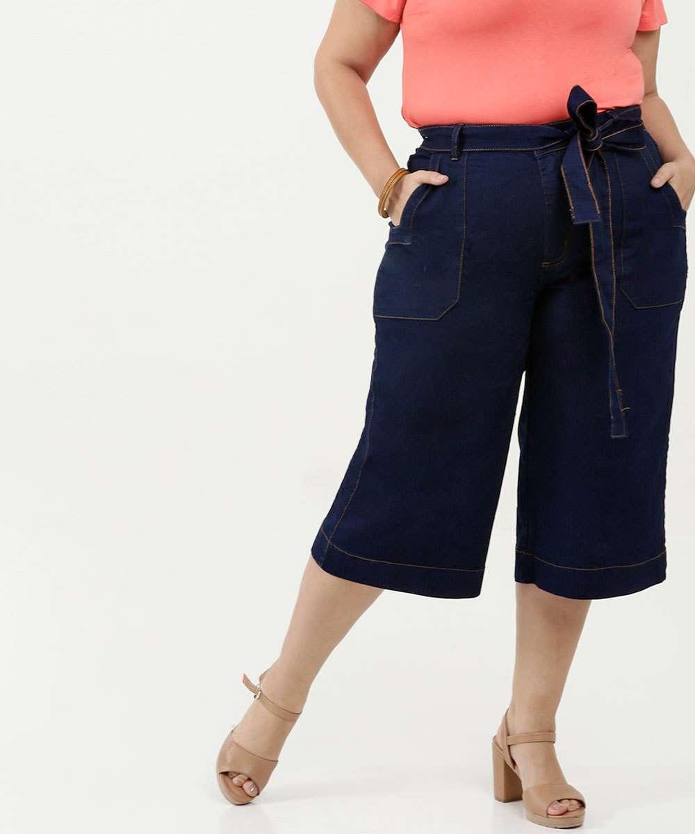 Calça Feminina Jeans Pantacourt Plus Size