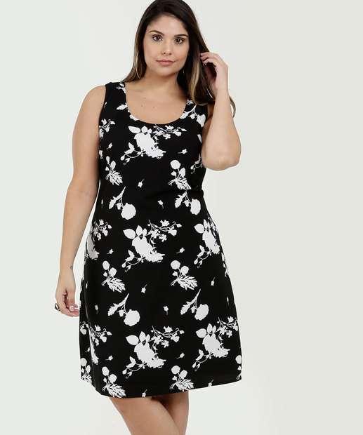 Image_Vestido Feminino Estampa Floral Plus Size Sem Mangas Marisa