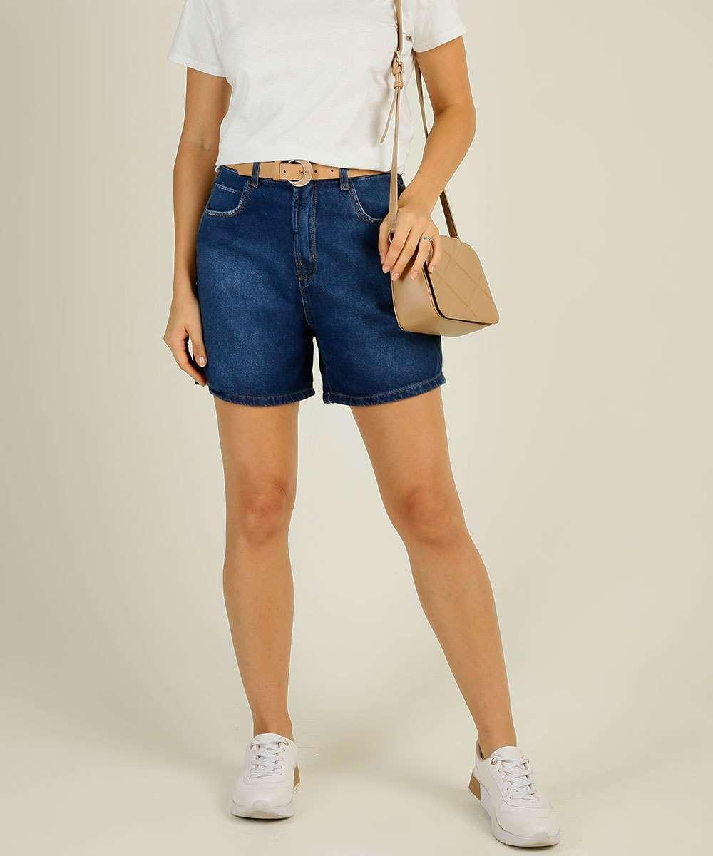 Short Jeans Feminino Cintura Alta Marisa