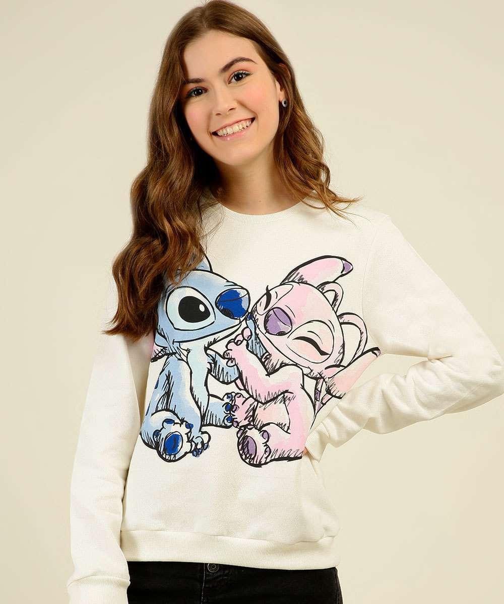 Blusão Juvenil Moletom Lilo & Stitch Disney Tam 10 a 16