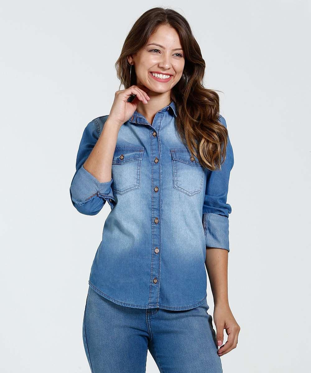 24fd8f4229 Camisa Feminina Jeans Manga Longa Marisa