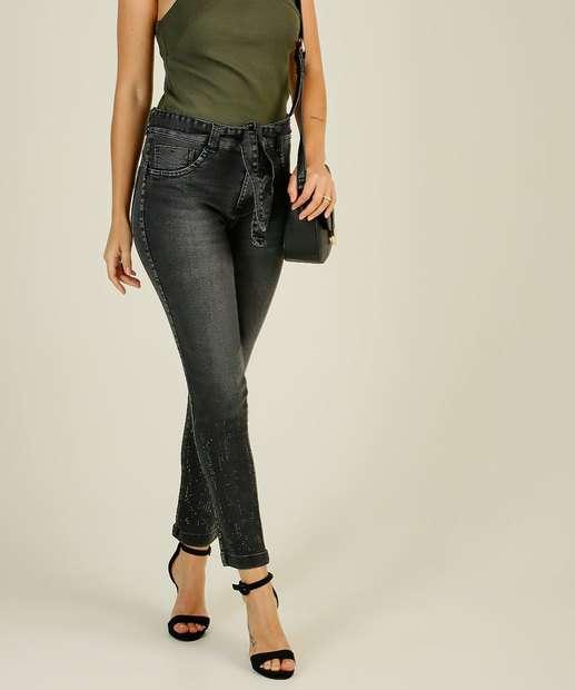 Image_Calça Jeans Skinny Feminina Cinto Strass Biotipo