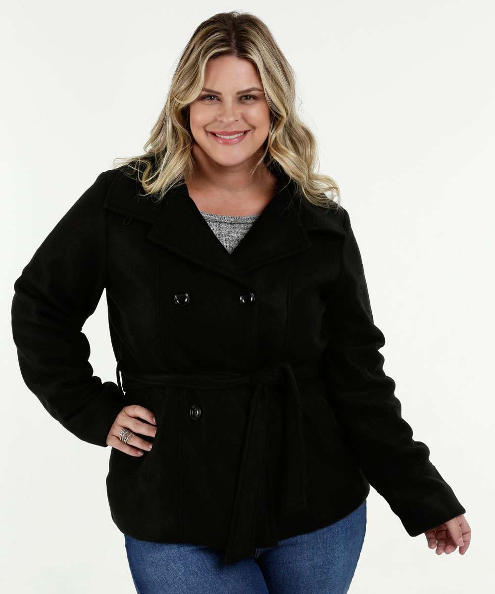 Casaco Feminino Trench Coat Soft Plus Size Marisa