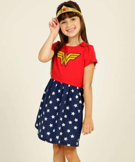 Image_Camisola Infantil Fantasia Mulher Maravilha Liga da Justiça Tam 4 a 12