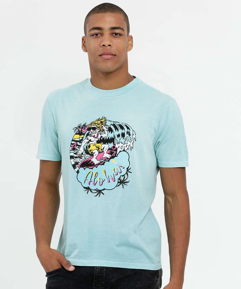 Camiseta Masculina Estampa Surfista Manga Curta MR