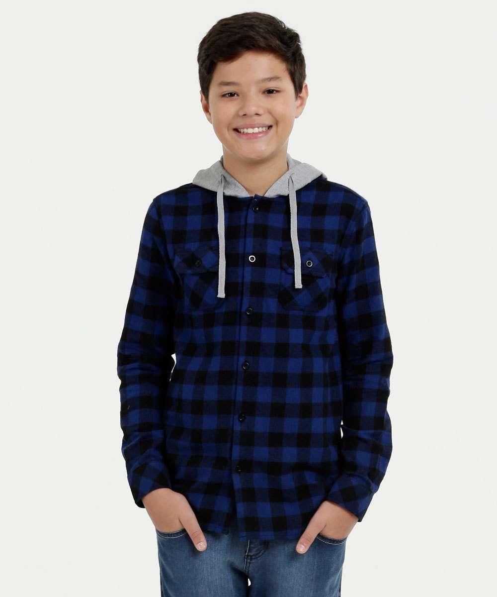 Camisa Juvenil Flanelada Estampa Xadrez Capuz MR