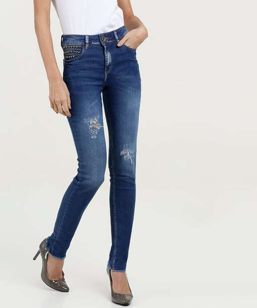 8286dcade7 Calça Feminina Skinny Destroyed Five Jeans