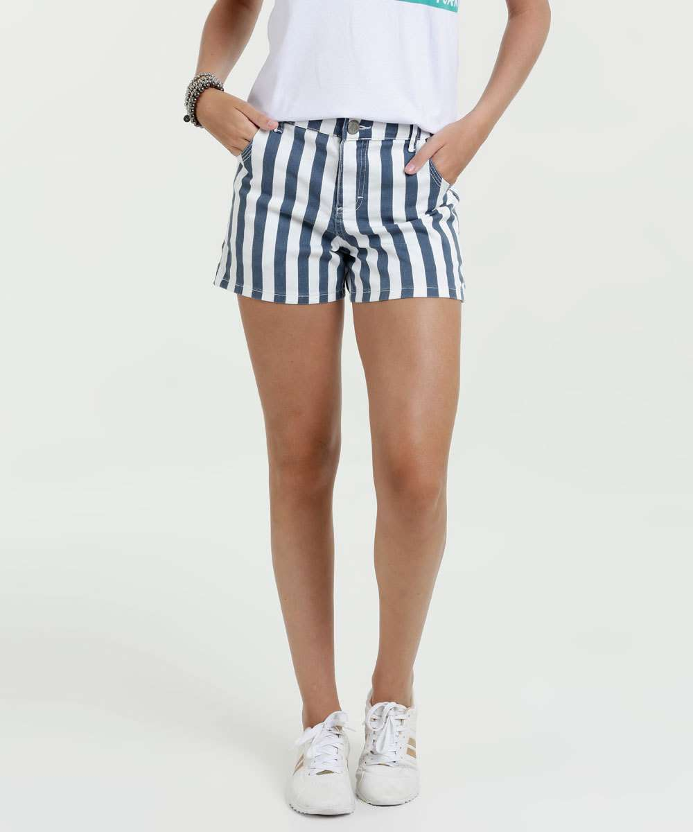 Short Feminino Jeans Listrado Gups