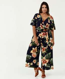 Macacão Feminino Estampa Tropical Plus Size Marisa