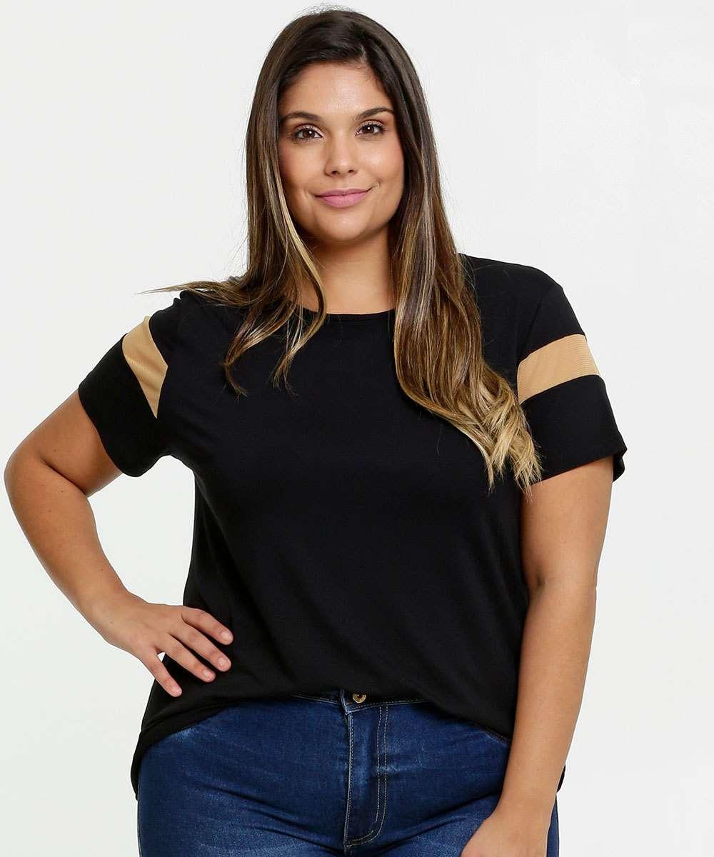 Blusa Feminina Recorte Tela Plus Size