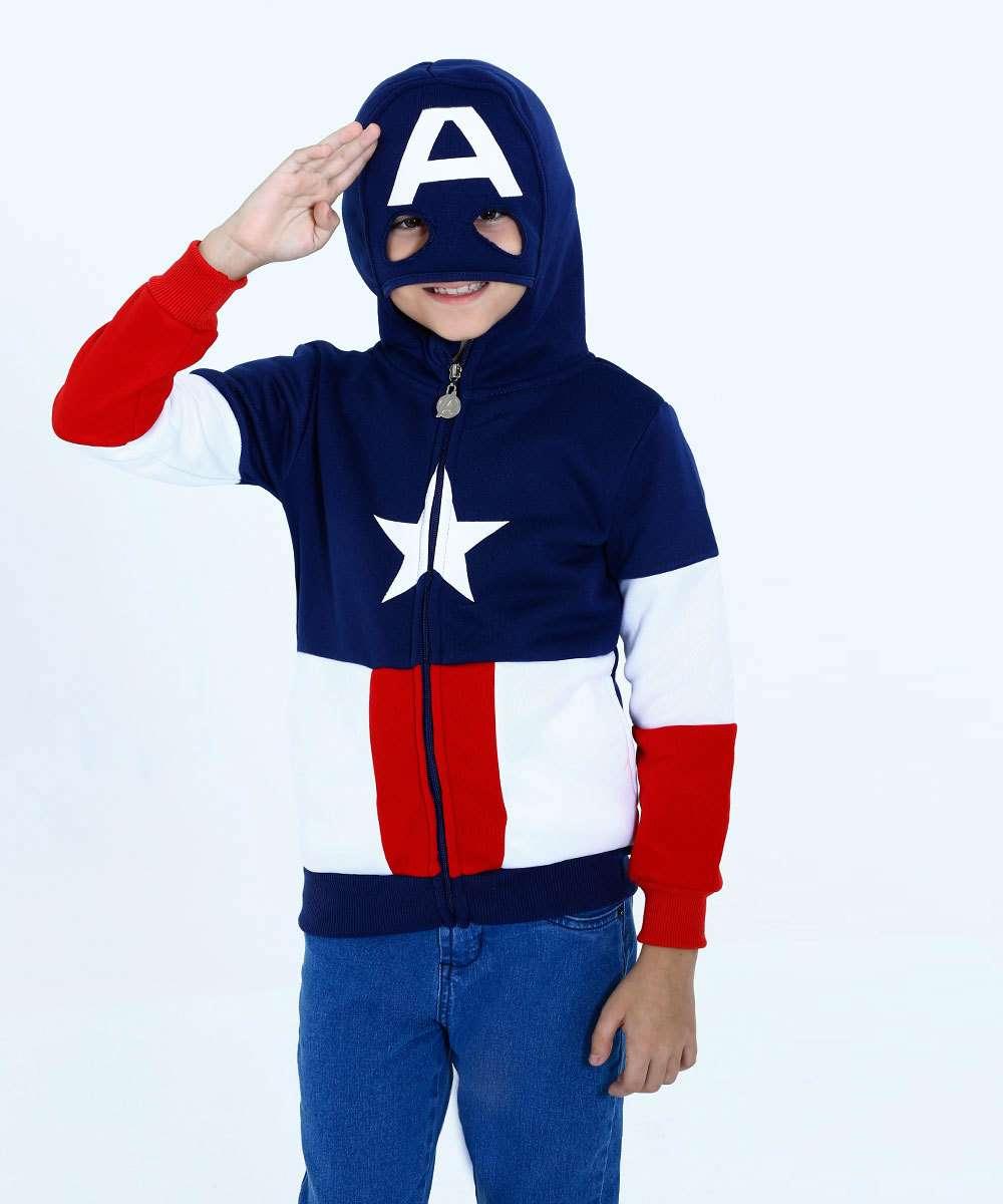 02d4526a06 Casaco Infantil Moletom Capitão América Marvel   Marisa