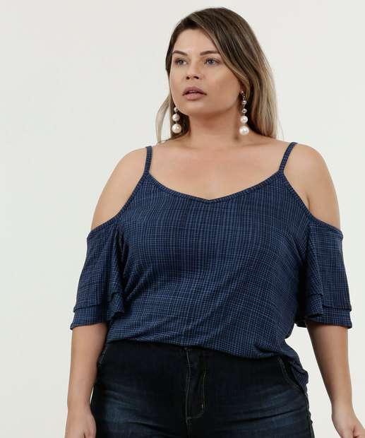 Image_Blusa Feminina Open Shoulder Quadriculada Plus Size Marisa