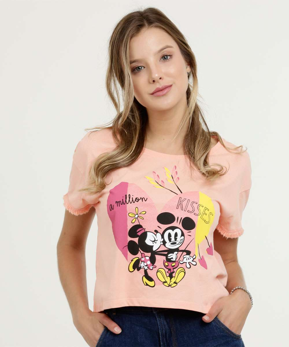 Blusa Feminina Cropped Estampa Mickey e Minnie Manga Curta Disney