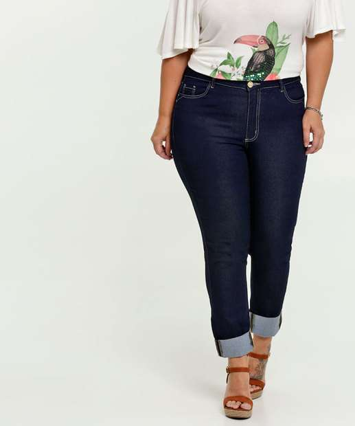 Image_Calça Jeans Skinny Feminina Barra Dobrada Plus Size Razon