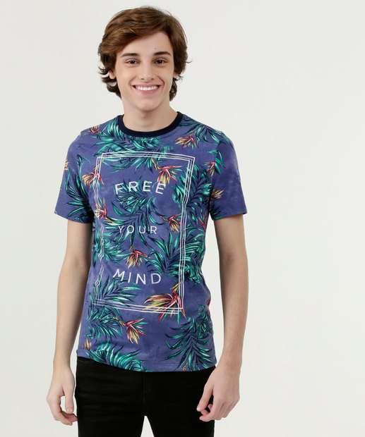 Image_Camiseta Juvenil Estampa Tropical Manga Curta