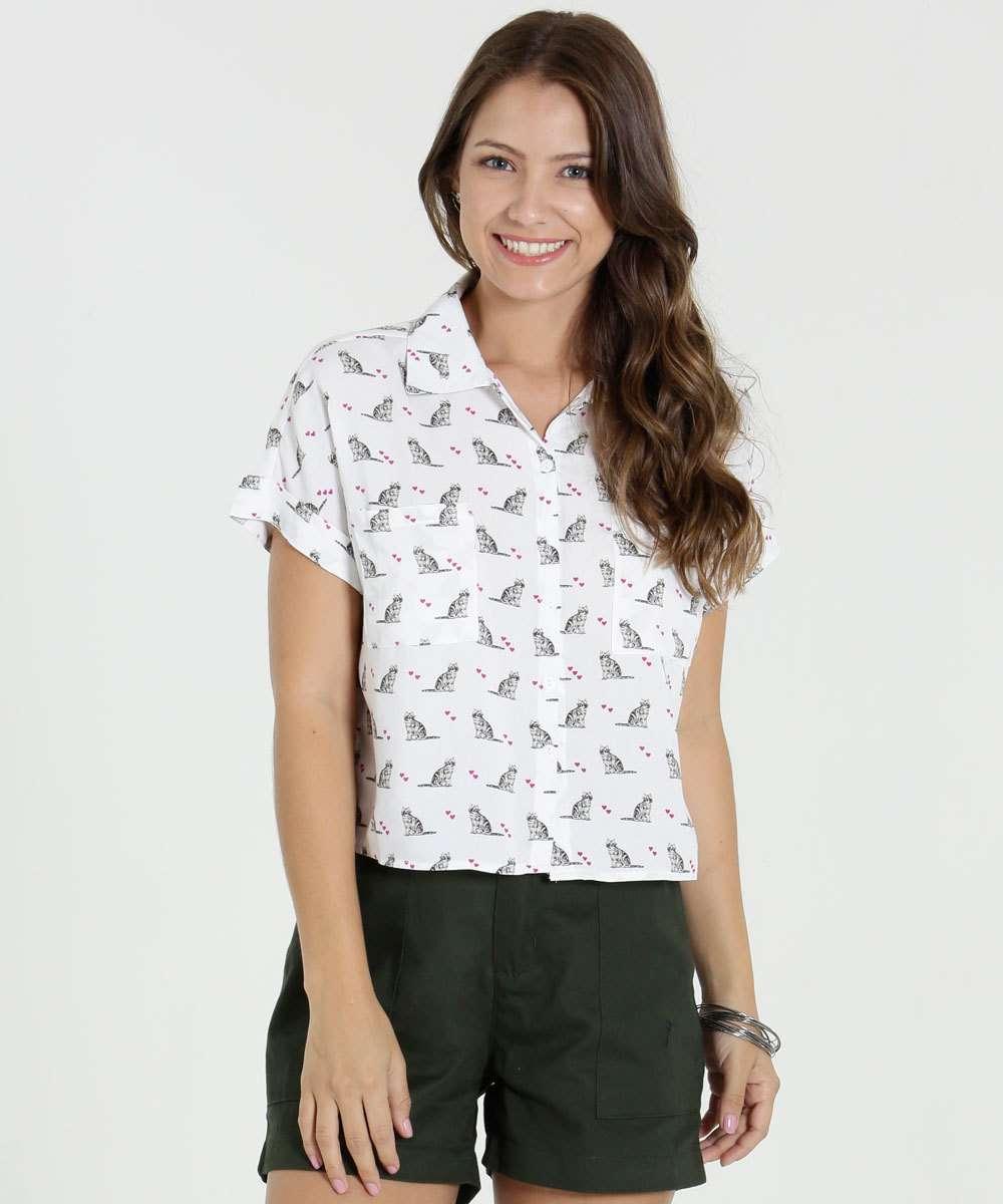 7cc4aaf04 Camisa Feminina Manga Curta Estampa Gatos Marisa