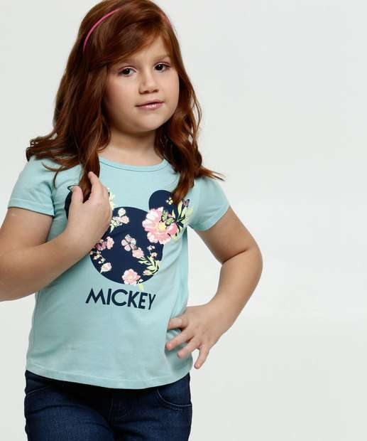 Image_Blusa Infantil Minnie Floral Manga Curta Disney