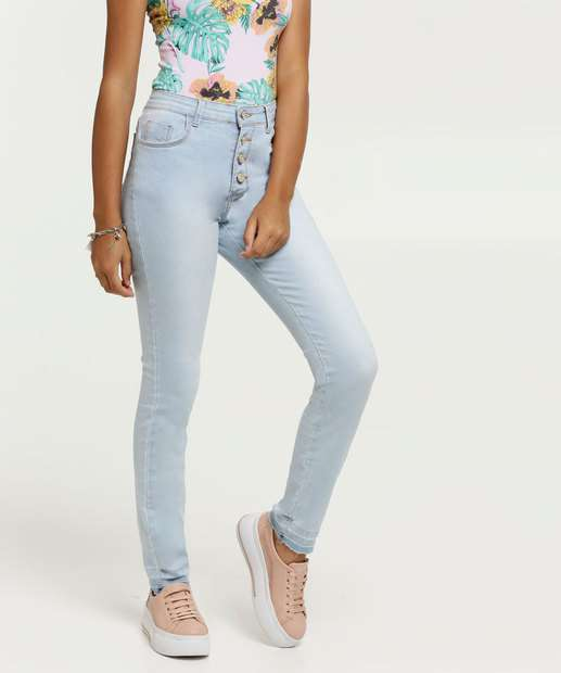 Image_Calça Juvenil Jeans Skinny Botões Marisa