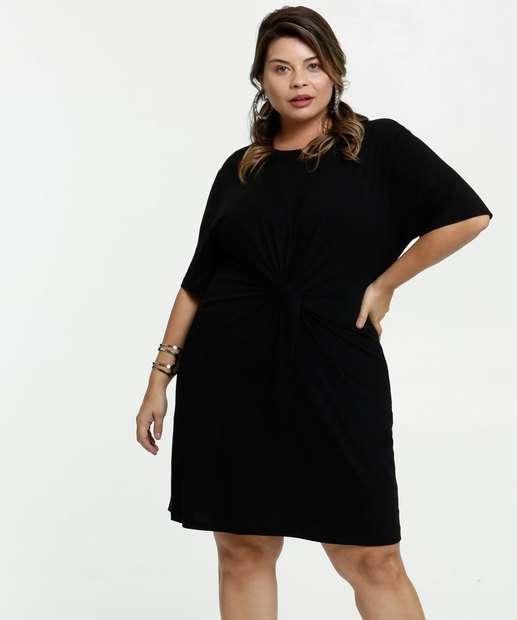 Image_Vestido Feminino Amarração Plus Size Manga Curta